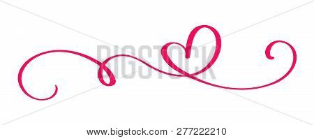 Monoline Red Vintage Vector Valentines Day Hand Drawn Calligraphic Two Hearts. Calligraphy Lettering