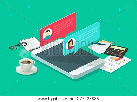 Chat Messages Notification On Smartphone Vector Research, Flat Isometric Sms Bubbles On Mobile Phone