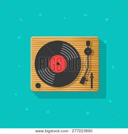 Vinyl Record Player Vector Illustration, Flat Cartoon Retro Vintage Turntable Icon Isolated Clipart