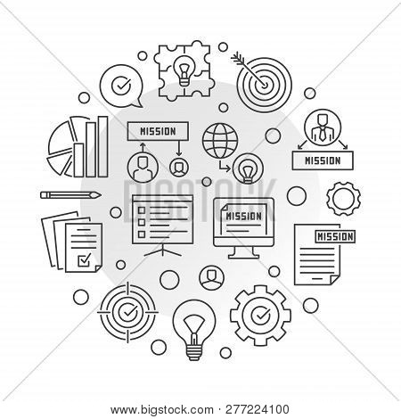 Mission Statements Round Concept Vector Illustration In Outline Style