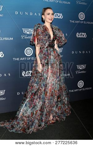 LOS ANGELES - JAN 5:  Lily Collins at the Art of Elysium 12th Annual HEAVEN Celebration at a Private Location on January 5, 2019 in Los Angeles, CA