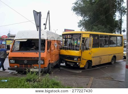 Kharkov, Ukraine - June 11, 2009: Consequences Of A Car Accident, A Wrecked Car. Road Traffic Accide