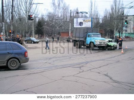 Kharkov, Ukraine - June 17, 2009: Consequences Of A Car Accident, A Wrecked Car. Road Traffic Accide