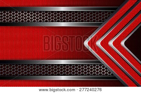 Geometric Corrugated Background With Frame And Grooved Red Arrows.