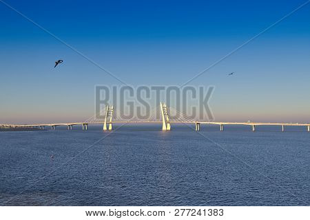 poster of Freeway with cable-stayed bridge over the sea, early morning dawn