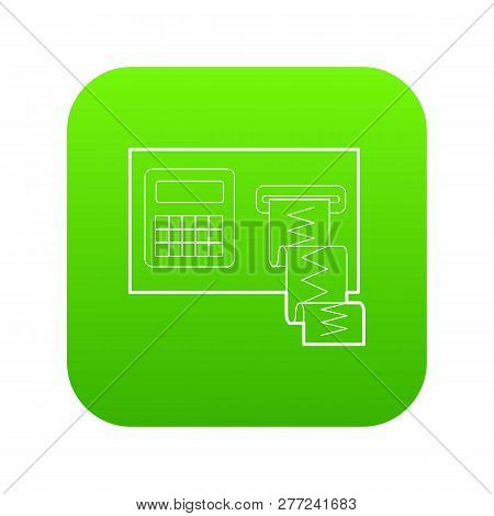 Cardiograph Icon Green Vector Isolated On White Background