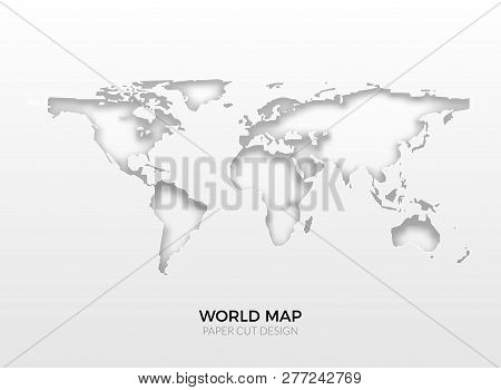 World Vector Map Template Isolated. World Earth Geography Global Design Of Atlas Background.
