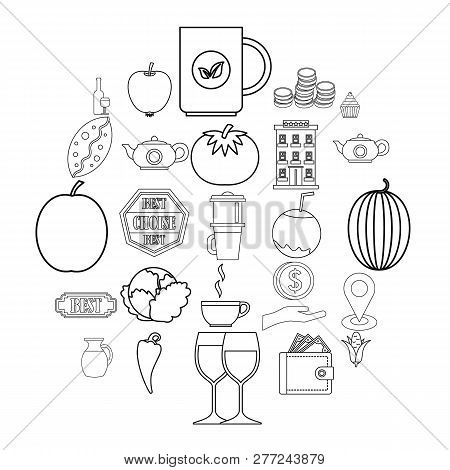 Continental Breakfast Icons Set. Outline Set Of 25 Continental Breakfast Vector Icons For Web Isolat