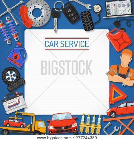 Car Service Banner And Frame. Car Repair, Tire Service With Flat Icons For Poster, Web Site, Adverti