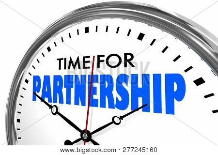 Time for Partnership Cooperation Clock Words 3d Illustration
