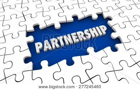 Partnership Cooperation Puzzle Pieces Hole 3d Illustration