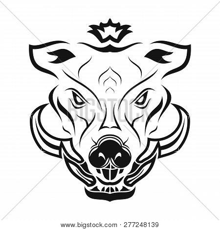 Vector Image Of The Head Of A Predatory Boar. Rage And Force. Black Tribal Tattoo. Vector Illustrati