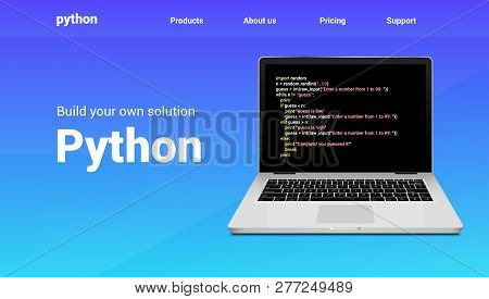 Python Programming Code Technology Banner. Python Language Software Coding Development Website Desig