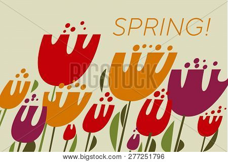 Spring Tulips Color Vector Illustration. Red, Purple, Yellow Flowers With Green Leaves. Scandinavian