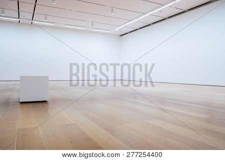 Blank White Wall And Hardwood Floor In Art Gallery