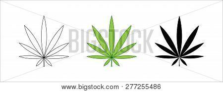 Set Of Cannabis Leaf Icon. Outline Leaf Of Cannabis, Flat Black And Green Leaf. Marijuana Sign. Mari
