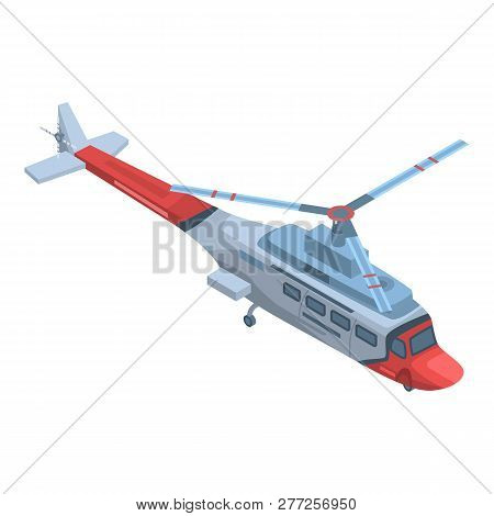 Rescue Helicopter Icon. Isometric Of Rescue Helicopter Vector Icon For Web Design Isolated On White