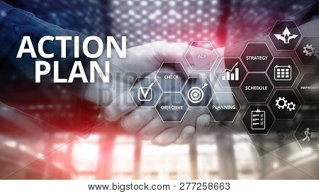 Action Plan Strategy Planning Vision Direction. Financial Concept On Blurred Background