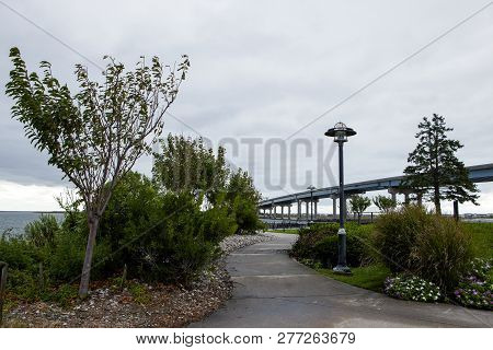 A Sidewalk Near The Baywalk In Atlantic City New Jersey