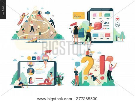 Business Series Set, Color 1 -modern Flat Vector Concept Illustrated Topics - Career, Buy Online Sho