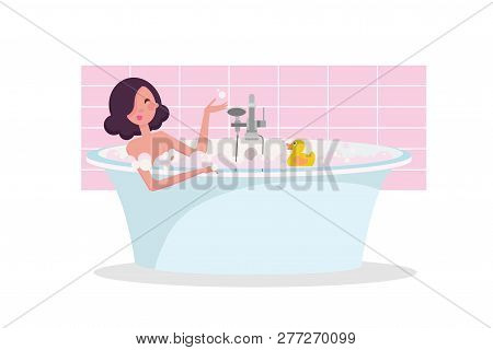 Dark Hair Girl Taking A Bath Full Of Soap Foam. Yellow Rubber Duck In Bathtub. Exquisite Bathtub Unu