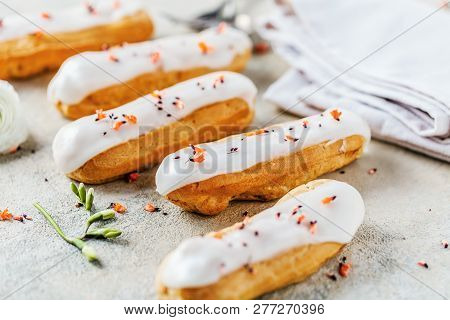 Home Made Cake Eclairs. Traditional Eclairs, Profitroles Classic, Eclairs French