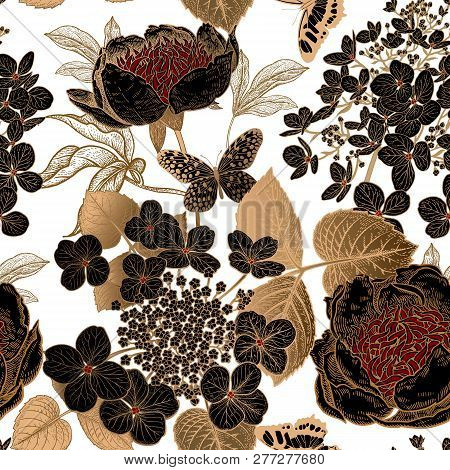 Peonies, Hydrangea And Butterfly. Floral Vintage Seamless Pattern. Gold And Black Flowers, Leaves, B