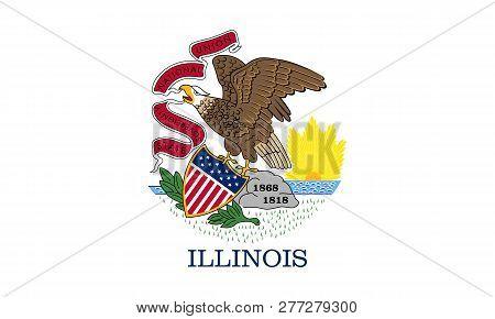 Flat Illinois State Flag - Usa Multicolored