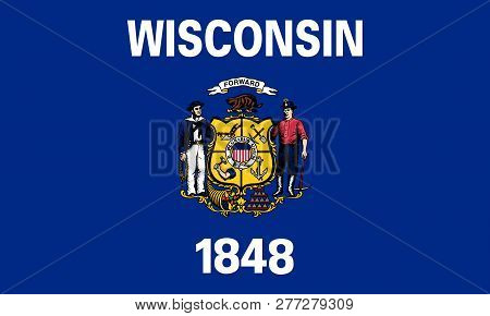 Flat Wisconsin State Flag - Usa Multicolored