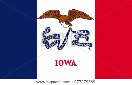 Flat Iowa State Flag - Usa In The Colors Blue, Red And White