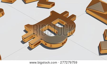 Bitcoin Gold Symbol On The White Background, 3d Rendering