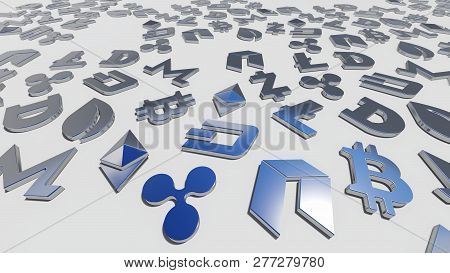 Crypto Currency Silver Symbols On The White Background, Rendering. 3d Rendering