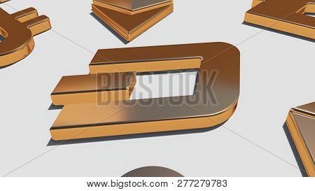 Dash Coin Gold Symbol On The White Background, Rendering. 3d Rendering