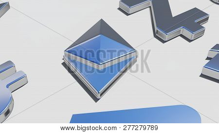 Ethereum Coin Silver Symbol On The White Background, 3d Rendering