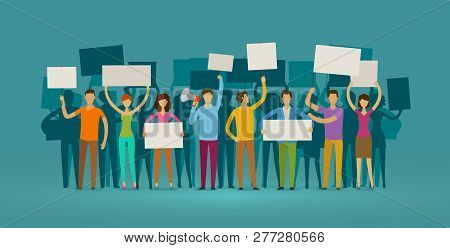 Crowd Of People With Placards On Demonstration. Manifestation, Protest Concept. Cartoon Vector Illus