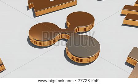 Ripple Coin Gold Symbol On The White Background, 3d Rendering