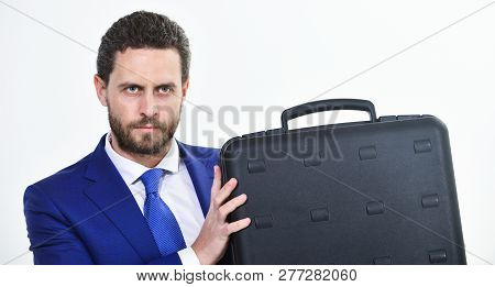 Justification For Proposed Project Or Expected Commercial Benefit. Man Hold Briefcase. Business Prof