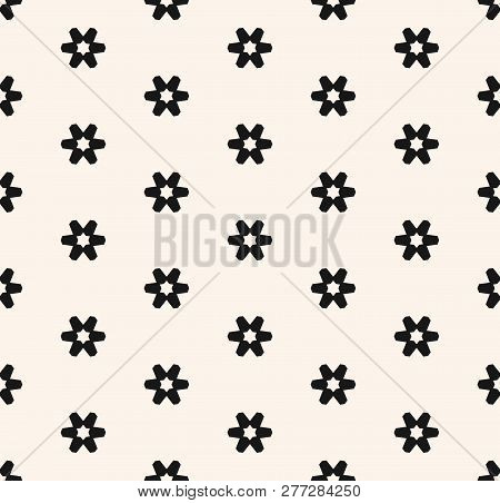 Subtle Minimal Vector Seamless Pattern With Small Geometric Flowers, Snowflakes, Stars. Abstract Bla
