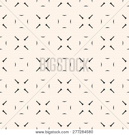 Vector Minimalist Geometric Seamless Pattern. Simple Monochrome Geometrical Texture With Thin Lines,