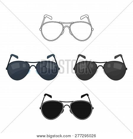 Aviator Sunglasses Icon In Cartoon Style Isolated On White Background. Police Symbol Stock Vector Il