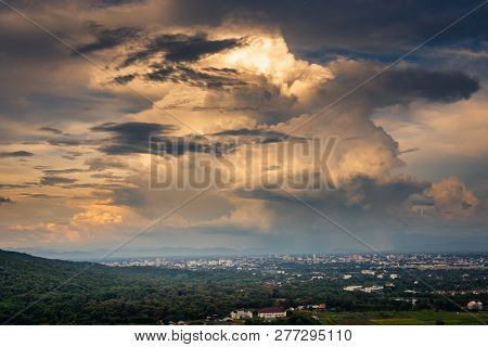 Landscape Of Dramatic Clouds Sky Over The City At Chiang Mai Of Thailand., Stormy Atmosphere Weather