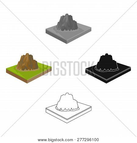 Mountains, Rocks And Landscape. Relief And Mountains Single Icon In Cartoon Style Isometric Vector S