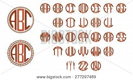 Monogram Circle Letters, Art Deco Style For Design