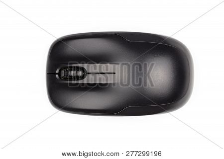 Computer Mouse Isolated On White Background. Computer Wireless Mouse. Black Computer Wireless Mouse.
