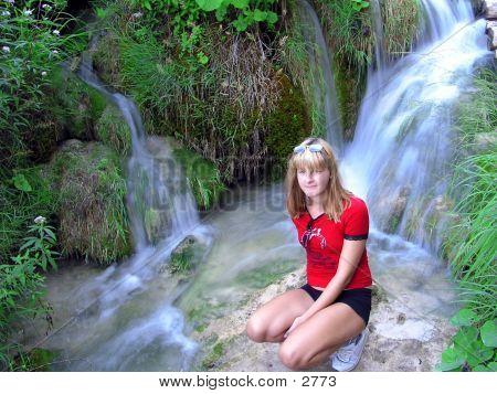 Girl & Idyllic Waterfalls