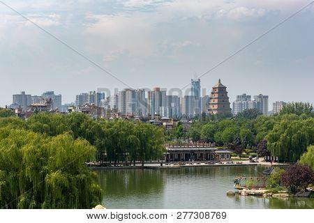 Xian, Shaanxi Province, China - Aug 12, 2018 : Dayanta - Big Wild Goose Pagoda And Skyline Aerial Vi