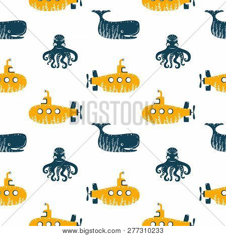 Sea Ocean Simple Styling Seamless Pattern Print With Submarine, Octopus And While.. Two Color. Print