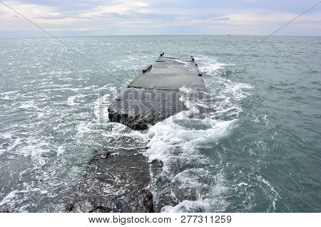View Of The Breakwater In The Sochi, Russia