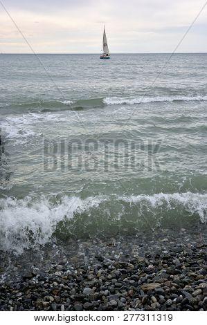 Sochi, Russia September 29, 2016: View Of The Beach In The Sochi, Russia