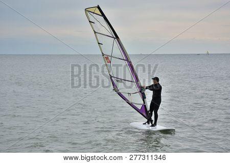 Sochi, Russia September 29, 2016: Windsurfing In Black Sea Sochi, Russia